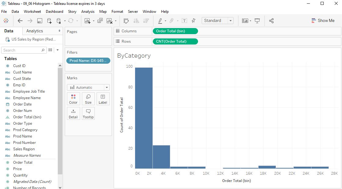 Tableau Histograms Step 6
